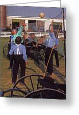 Amish Boys Play Volleyball Farm Greeting Card