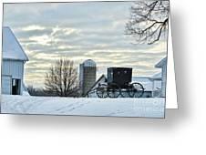 Amish Buggy At Morning Greeting Card