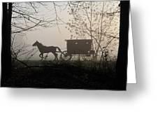 Amish Buggy Foggy Sunday Greeting Card