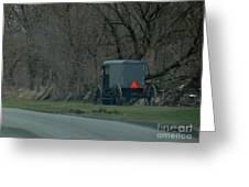 Amish Buggy Parked By A Creek Greeting Card