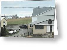 Amish Children Walk To The Barn Greeting Card