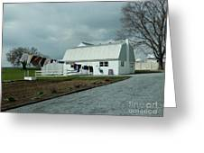 Amish Clothesline And A Barn Greeting Card
