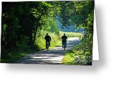 Amish Couple On Bicycles Greeting Card