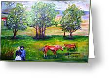 Amish Courtship At Berlin Ohio Greeting Card