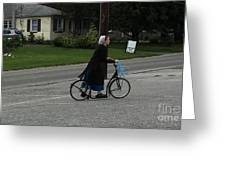 Amish Girl Going To Work Greeting Card