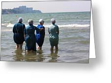 Amish Girls In The Surf Greeting Card