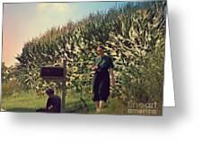 Amish Girls Watermelon Break Greeting Card