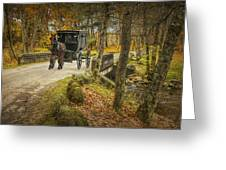 Amish Horse And Buggy Crossing A Bridge Greeting Card