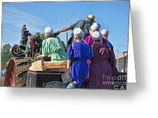Amish On Steam Engine Greeting Card