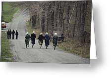 Amish People Visiting Middle Creek Greeting Card