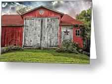 Amish Red Barn Greeting Card