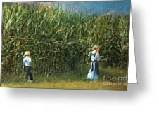 Amish Siblings In Cornfield  Greeting Card