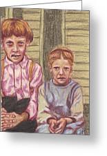 Amish Siblings Greeting Card