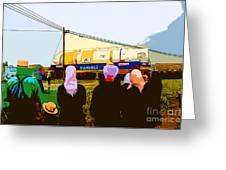 Amish Watching A Nuclear Reactor Go By Greeting Card