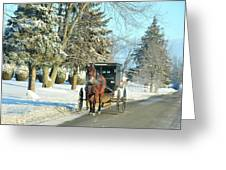 Amish Winter Greeting Card by David Arment