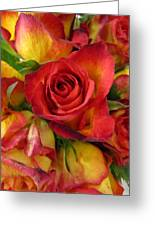 Among The Rose Leaves Greeting Card