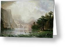 Among The Sierra Nevada Mountains California Greeting Card by Albert Bierstadt