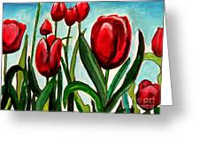 Among The Tulips Greeting Card