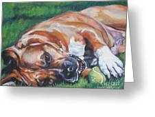 Amstaff With Ball Greeting Card