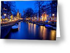 Amsterdam - A Canal Scene At Night . L B Greeting Card