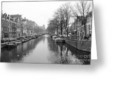 Amsterdam Canal Black And White 2 Greeting Card