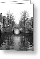 Amsterdam Canal Bridge Black And White Greeting Card