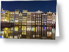 Amsterdam Canal Houses At Night Greeting Card
