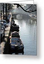 Amsterdam Canal In Winter Greeting Card