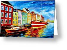 Amsterdam-city Dock - Palette Knife Oil Painting On Canvas By Leonid Afremov Greeting Card
