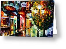 Amsterdam Night Rain Greeting Card