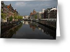 Amsterdam - Singel Canal With The Floating Flower Market Greeting Card