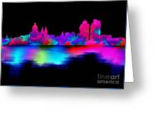 Amsterdam Skyline - Pink Blue Greeting Card
