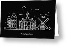 Amsterdam Skyline Travel Poster Greeting Card