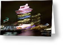 Amsterdam The Netherlands A'dam Tower Abstract At Night. Greeting Card