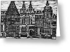 Amsterdam Woodcut Greeting Card