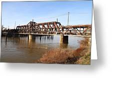 Amtrak California Crossing The Old Sacramento Southern Pacific Train Bridge . 7d11674 Greeting Card