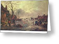 Amusement On The Ice 1645  Greeting Card