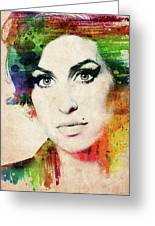 Amy Winehouse Colorful Portrait Greeting Card