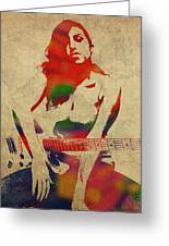Amy Winehouse Watercolor Portrait Greeting Card