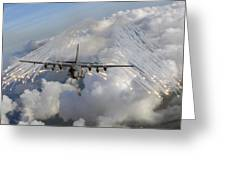 An Ac-130u Gunship Jettisons Flares Greeting Card