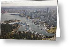 An Aerial View Of The City Of Vancouver Greeting Card by Taylor S. Kennedy