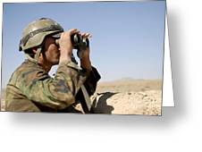 An Afghan Commando Scans The Horizon Greeting Card