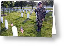 An Airman Renders Honors After Placing Greeting Card by Stocktrek Images