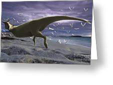 An Albino Carnotaurus Surprising Greeting Card