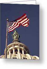 An American Flag And The Statue Greeting Card