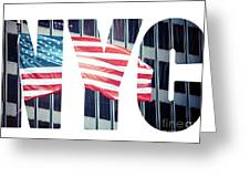 An American Flag In New York. Greeting Card