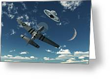 An American P-51 Mustang Gives Chase Greeting Card by Mark Stevenson