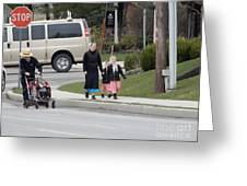 An Amish Family Going For A Walk Greeting Card