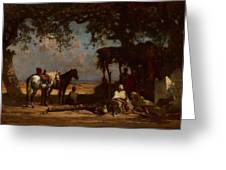 An Arab Encampment Greeting Card by Gustave Guillaumet