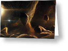 An Asteroid Field Next To An Earth-like Greeting Card